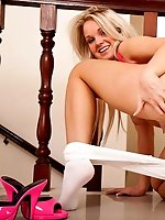 Long haired UK blonde Shelly Roberts shows off her teen assets