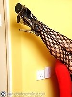 Gorgeous UK blondie pulls up her mesh tights and gets naughty