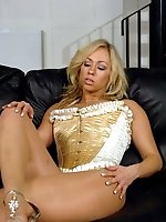Beautiful blonde in her see through nylons