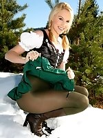 Joceline looking stunning in fraulein outfit with boots and pantyhose
