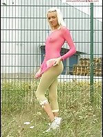 Outdoor escapade with blonde in bright net footless hose and top